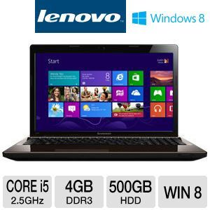 "Lenovo G580 15.6"" Core i5 500GB HDD Notebook"