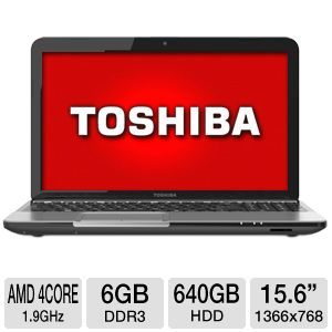 "Toshiba Satellite 15.6"" AMD Quad-Core 640GB Laptop"