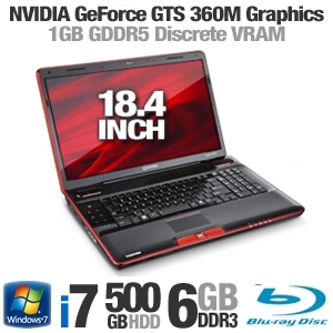 Toshiba Qosmio X505-Q890 PQX33U-03J01R 18.4 inch 6GB Notebook Computer with 1.73Ghz Intel i7-740QM Processor, 500GB HDD + 64GB SSD, Blu-Ray Player, Webcam