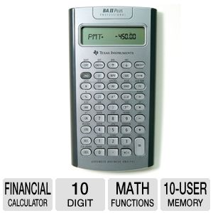 Texas Instruments BAII PLUS PRO Finance Calculator