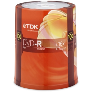 TDK 100-Pack 16X DVD-R in Spindle