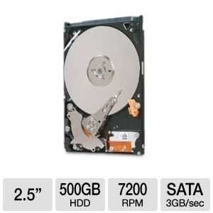 "Seagate Momentus 2.5"" 500GB 7200RPM SATA 3Gb/s HD"