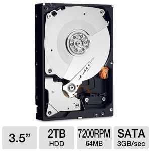 Western Digital 2TB 7200rpm, 64MB Cache - $179.99