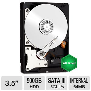 "WD Green 500GB Sata 3.5"" Desktop Hard Drive"