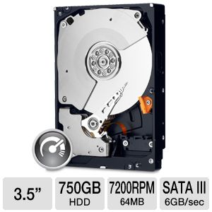 "WD Black SATA 3.5"" 750GB Desktop Hard Drive"