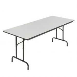 "Folding table has a 3/4"" thick gray melamine lamin"