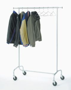 Mobile coat rack holds up to 24 coat hangers. Coat