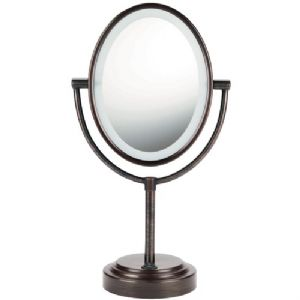 LIGHTED 2-SIDED MIRROR (OILED BRONZE)
