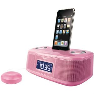 IPOD(TM) DUAL ALARM CLOCK WITH BED SHAKE