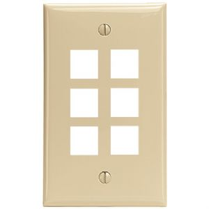 QUICKPORT(TM) WALLPLATE (6-PORT IVORY)