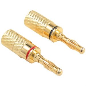 GOLD-PLATED SCREW-ON BANANA PLUGS, 4 PK