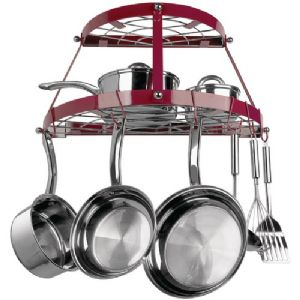 DOUBLE SHELF WALL MOUNT POT RACK (RED EN