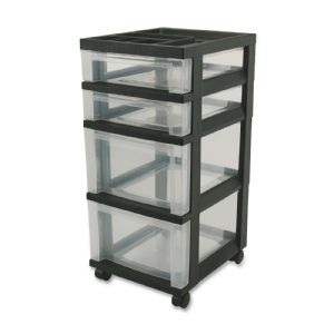 CART,4-DRAWER,BLACK