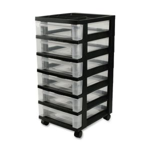 CART,6-DRAWER,BLACK