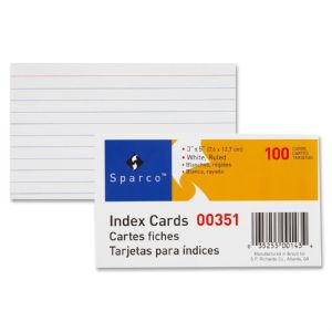 CARD,INDEX,3X5,RULED,WHITE