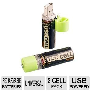 USBCELL AA Rechargable Battery - 2 Cell Pack