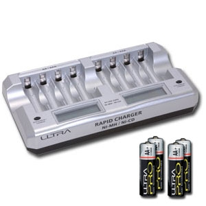 Ultra 8 Cell Battery Charger with Batteries