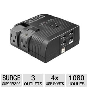 Ultra 3 Outlet Power Station w/ 4-Port USB Hub