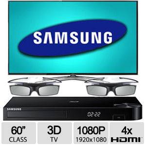 "Samsung UN60H6400 60"" 3D Smart TV Blu-ray Bundle"
