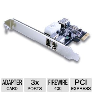 Vantec 3 Port FireWire 400 PCIe Card 1 Int / 2 Ext
