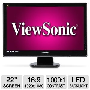 ViewSonic 22&quot; Class LED HD Monitor 2ms 2 HD REFURB