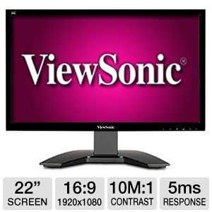 ViewSonic 22&quot; Wide 1080p LED, Speakers, VGA, DVI