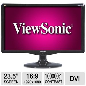 "Viewsonic 24"" Wide 1080p LCD Monitor, VGA, DVI"