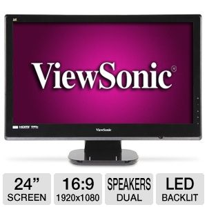 "ViewSonic 24"" Class LED HD Monitor 2ms 2 HD REFURB"