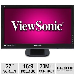 "ViewSonic VX2753MH-LED 27"" 1080P 1ms LED Monitor"