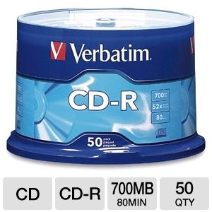 Verbatim 94691 50 Pack 52X CDR Spindle