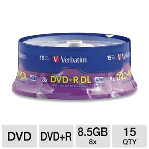 Verbatim 95484 15 Pack 8X DVD+R DL Spindle