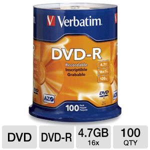 Verbatim 95102 AZO 100 Pack 16X DVD-R Spindle