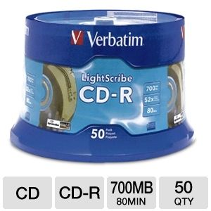 Verbatim 96164 50 Pack 52X CDR Lightscribe Spindle