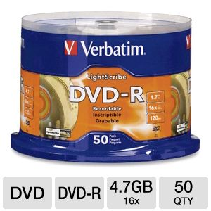 Verbatim 96166 50 Pack DVD-R Lightscribe Spindle
