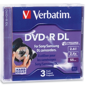 Verbatim 95313 3 Pack 2.4X DVD+R DL Jewel  Case