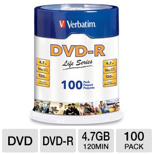 Verbatim 97177 Life Series 100 Pack 16X DVD-R
