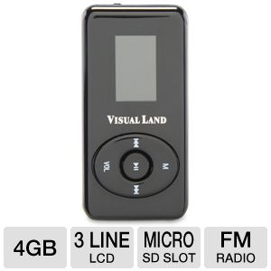 Visual Land ME-963-4GB-BLK V-Clip Pro MP3 Player