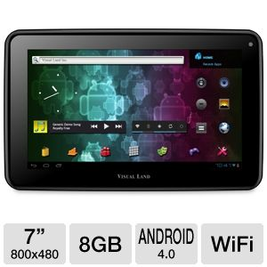"Visual Land 7"" 8GB Android 4.0 Black Tablet"