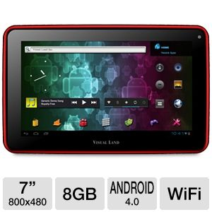 "Visual Land 7"" 8GB Red Internet Tablet"