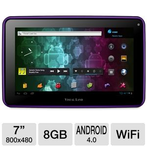 "Visual Land 7"" 8GB Purple Internet Tablet REFURB"
