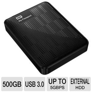 WD My Passport 500GB Black Hard Drive