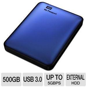 WD My Passport 500GB Blue Hard Drive