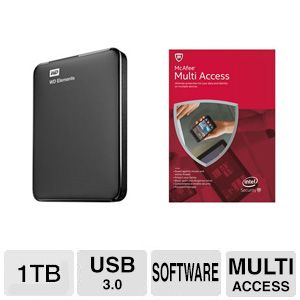 WD 1TB Portable Drive and McAfee 2015 Bundle