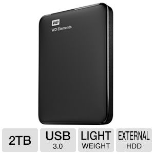 WD Elements 2TB USB 3.0  Lightweight Portable Drive