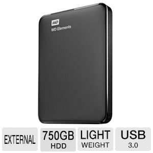 WD Elements 750GB External Portable Drive