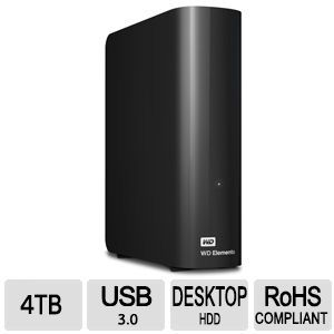 WD Elements 4TB External USB 3.0 Desktop Hard Drive