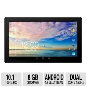 Azpen A1023 10.1'' Tablet - A23 Dual Core Cortex-A7 1.5GHz, Android 4.2 Jellybean, 10.1'' LCD Touch Display 1024 x 600, 1GB Internal Storage, Touch Screen, 8GB Flash Memory, Black - A1023