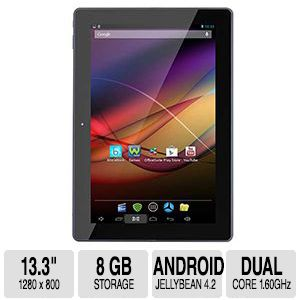 Azpen A1320 13.3'' Tablet - Rockchip Cortex A9 Dual Core 1.60GHz, Android 4.2 Jellybean, 13.3'' WXGA 1280 x 800, 1GB Internal Storage, Multi-touch Screen, 8GB Flash Memory, Black - A1320