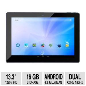 AZPEN 13.3 HD Tablet   Rockchip 3066 Cortex A9 Dual Core 1.6 Ghz, 13.3 HD IPS Screen Android 4.2 Jelly Bean, 16GB Flash Storage, 1x Micro USB, HDMI, Bluetooth, WIFI, Dual Cameras   A1320G