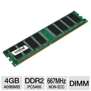 Crucial 4GB PC5300 DDR2 667MHz Desktop Memory Upgr